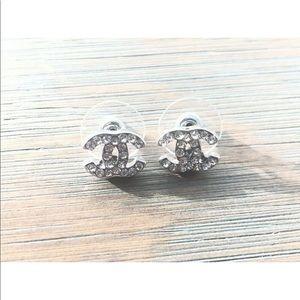 Chanel small Silver crystal rhinestone studs.